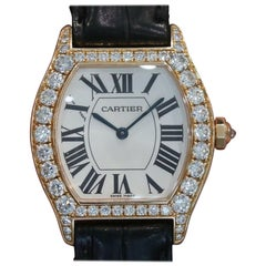 Cartier Ladies Tortue Rose Gold with Diamonds