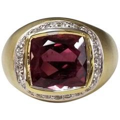 """18 Karat Yellow Gold Pink Tourmaline and Diamond """"Gypsy"""" Ring"""