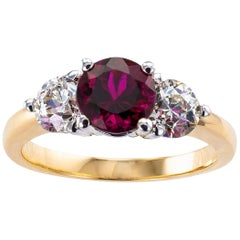Rubellite Diamond Three-Stone Gold Ring