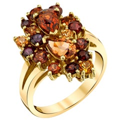 3.58 ct. t.w. Multicolored Garnet 18k Yellow Gold Paisley Cluster Cocktail Ring