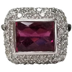 14 Karat White Gold Pink Tourmaline and Diamond Ring