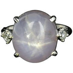 1930's Platinum 18.56 CT Natural Star Sapphire 2.18 CTW French Cut Diamond Ring