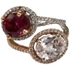 14 Karat White and Rose Gold Pink Tourmaline and Diamond Ring