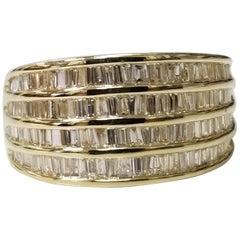 14 Karat Yellow Gold 4-Row Baguette Cut Channel Ring