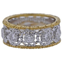 Mario Buccellati Diamond Yellow White Gold Wedding Band Ring