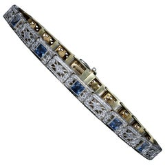 Edwardian 14K & Platinum Wordley, Allsop & Bliss French Cut Sapphire Bracelet