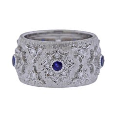 Mario Buccellati Diamond Sapphire White Gold Wide Band Ring