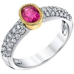 0.91 Carat Oval Burmese Ruby and Diamond 18 Karat Yellow and White Gold Ring