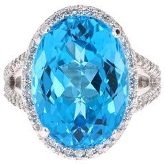 18.20 Carat Blue Topaz Diamond 14 Karat White Gold Cocktail Ring