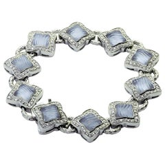 David Yurman Diamond Blue Chalcedony White Gold Quatrefoil Bracelet