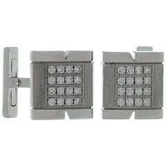 Cartier Tank Francaise Diamond White Gold Cufflinks