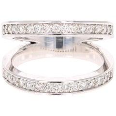 0.67 Carat Round Cut Diamond Ring 14 Karat White Gold