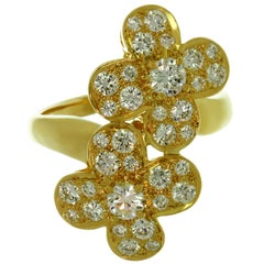 Van Cleef & Arpels Double Trefle Diamond Yellow Gold Clover Flower Ring