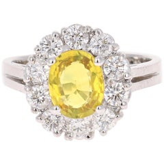 2.66 Carat Yellow Sapphire Diamond Engagement Ring 18 Karat White Gold
