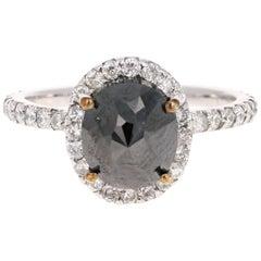 3.60 Carat Black Diamond 14 Karat White Gold Halo Engagement Ring
