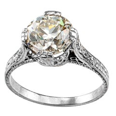 Edwardian 2.21 Carat Old European Cut Diamond Platinum Engagement Ring