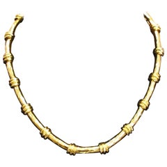 Henry Dunay 18 Karat Yellow Gold Notched Necklace