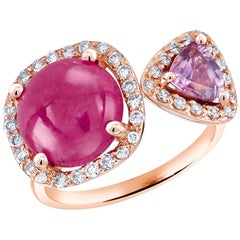 Cabochon Ruby and Triangle Pink Sapphire Rose Gold Cocktail Ring