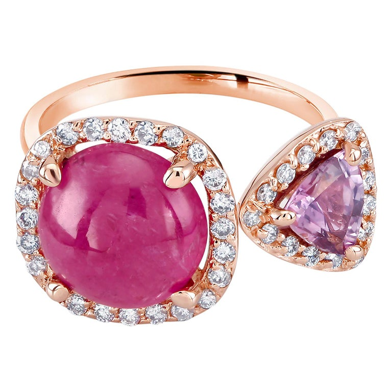 Burma Cabochon Ruby Diamond Triangle Pink Sapphire Open Shank Cocktail  Ring For Sale