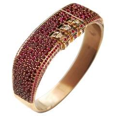 18 Karat Pave Ruby Custom Code Bracelet