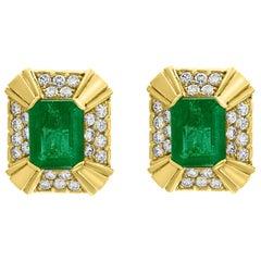 12 Carat Emerald Cut Emerald Diamond Clip Earrings 18 Karat Yellow Gold, Estate