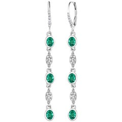 Emerald and Diamond Bezel Set Hoop Earrings Weighing 2.40 Carat