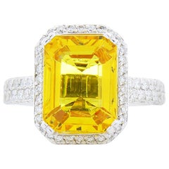 3.74 Carat Emerald cut Yellow Sapphire & Diamond Cocktail Ring In 18 K Gold