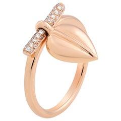 Small Lazarus 18 Karat Gold and Diamond Charm Ring