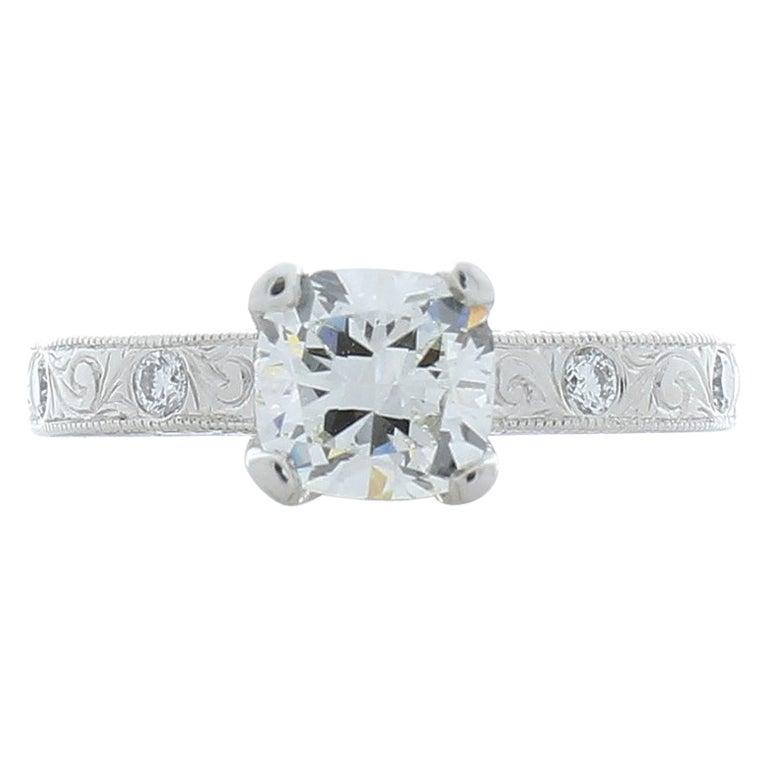 1.01 Carat Cushion Cut Diamond Cocktail Ring in Platinum