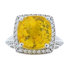 8.20 Carat Cushion Cut Yellow Sapphire & Diamond Cocktail ring In 18K White Gold