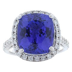 7.73 Carat Tanzanite and Diamond Cocktail Ring in 14 Karat White Gold