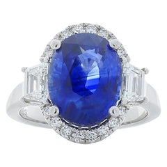 TIGL Certified 5.91 Carat Oval Blue Sapphire & Diamond Cocktail Ring In Platinum