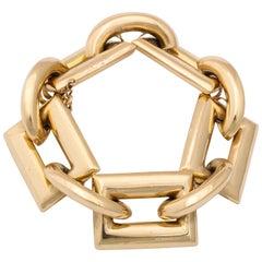 Vintage 1940s Retro Large Gold Link Bracelet