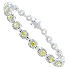 6.36 Carat Total Cushion Cut Fancy Yellow Diamond Bracelet in 14 Karat Gold