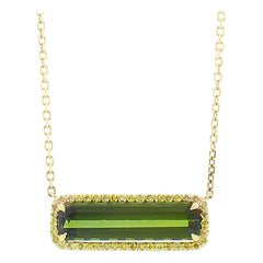 4.06 Carat Emerald Cut Tourmaline and Diamond Pendant Necklace in 14 Karat Gold