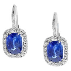 TGL & EGL Certified 4.33Carat Total Cushion Cut Blue Sapphire & Diamond Earrings