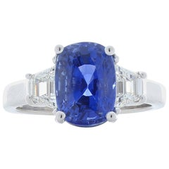 5.70 Carat Cushion Cut Blue Sapphire and Diamond Cocktail Ring in Platinum