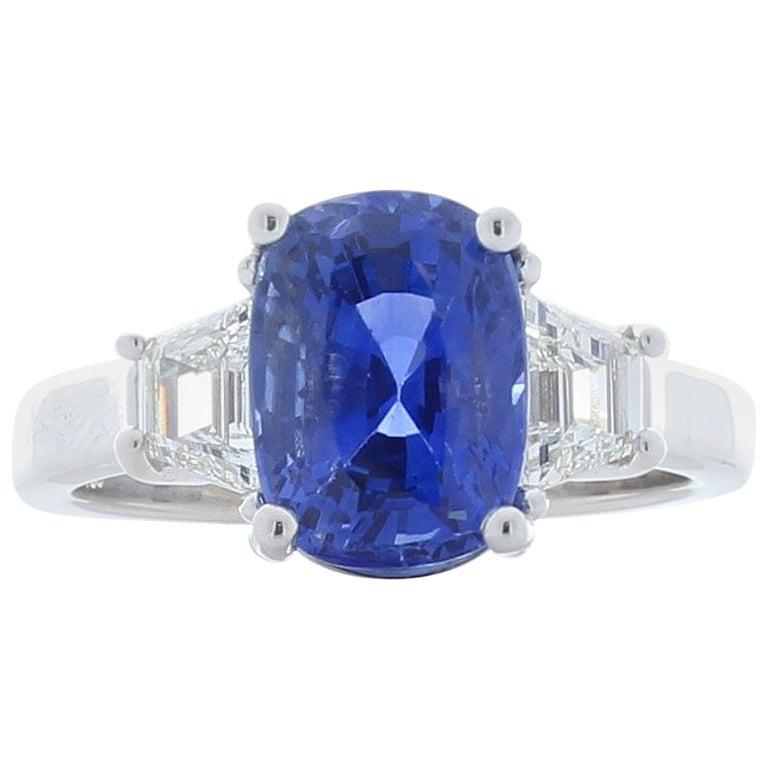 5.70 Carat Cushion Cut Blue Sapphire and Diamond Cocktail Ring in Platinum