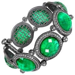 Green Agate Quartz Oxidized Sterling Silver Bracelet Choker