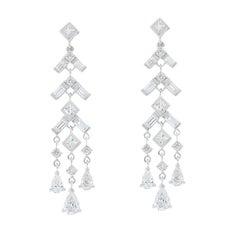 3.24 Carat Total Round, Baguette, Princess Cut and Pear Shape Diamond Earrings