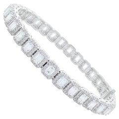 6.14 Carat Total Emerald Cut Diamond Bracelet in 18 Karat White Gold