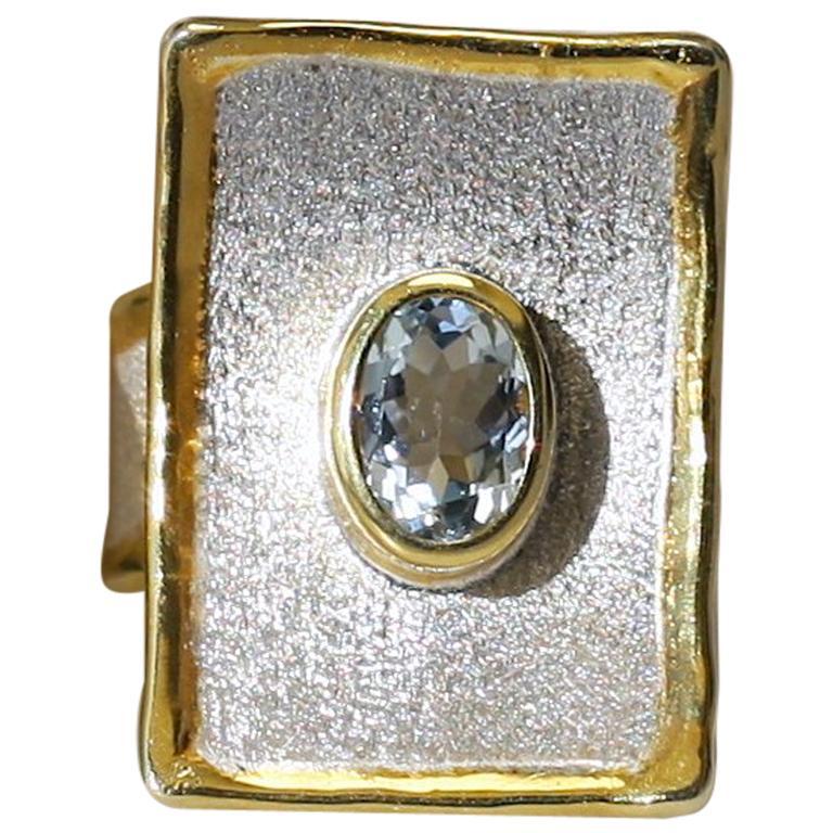 Yianni Creations Aquamarine Fine Silver 24 Karat Gold Rectangular Wide Band Ring