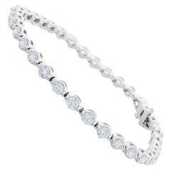 3.85 Carat Total Diamond Tennis Bracelet in 14 Karat White Gold