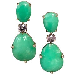 Joon Han Chrysoprase Spinel Diamond 18K Gold Drop Dangle Earrings