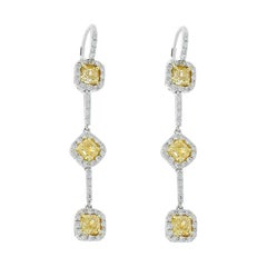 3.00 Carat Total Cushion Cut Fancy Yellow Diamond Dangle Earrings in Platinum
