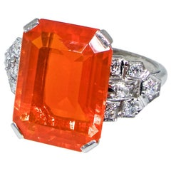Art Deco Diamond and Fire Opal Platinum Ring, circa 1930
