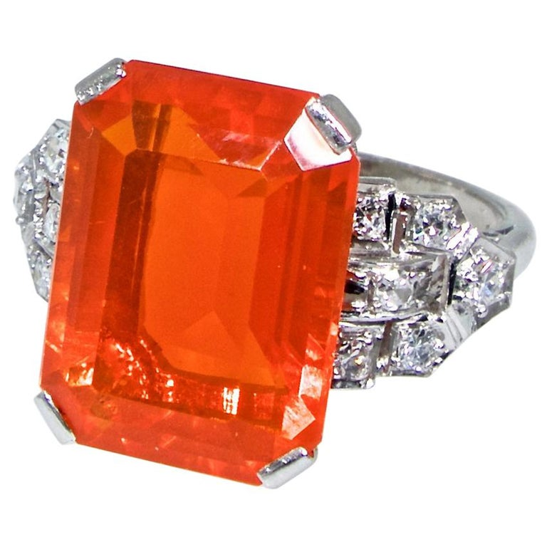 Art Deco Diamond and Fire Opal Platinum Ring, circa 1930 For Sale