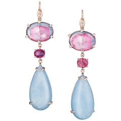 Joon Han Bicolor Tourmaline Aquamarine Spinel Diamond 18K Gold Drop Earrings