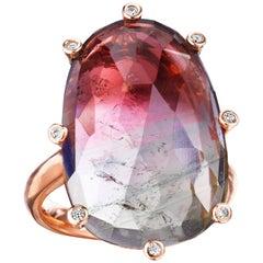 Joon Han Rose Cut Bicolor Tourmaline Diamond 18K Rose Gold Cocktail Ring