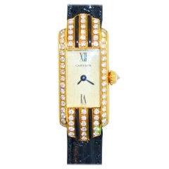 Cartier Wristwatch with Diamonds and Black Enamel